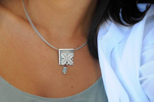 colgante plata aguamarinas cornalina fragments cuello