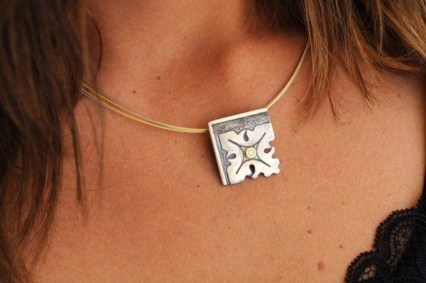 colgante plata brillante fragments cuello