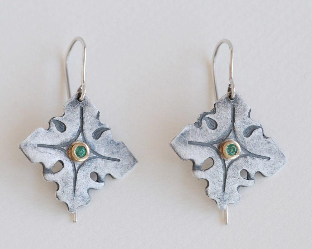 pendientes plata esmeraldas