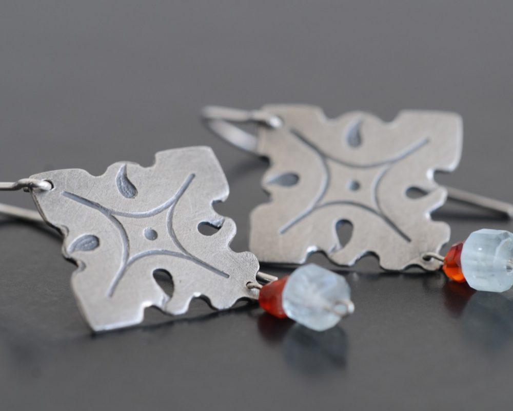 pendientes plata cornalina aguamarina