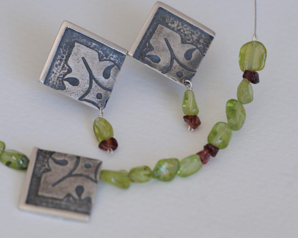 pendientes plata olivinas granates